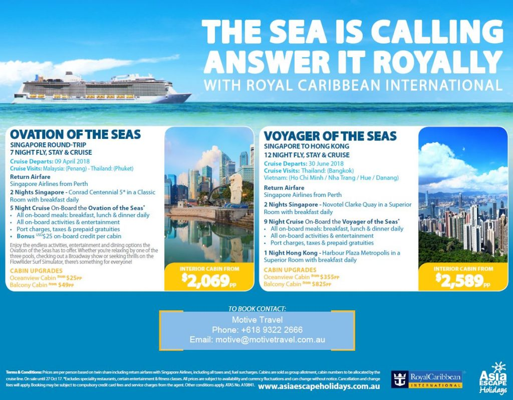 Asia Escape Holidays Royal Caribbean ends 27Oct17