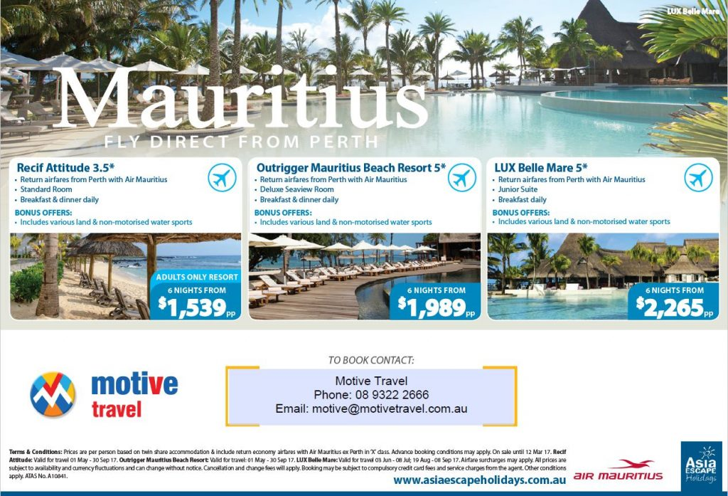 Asia Escape Holidays Mauritius Packages Sunday Times 26Feb17