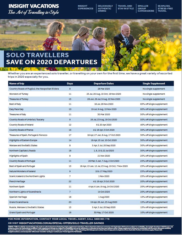 Insight Vacations Solo Traveller savings flyer