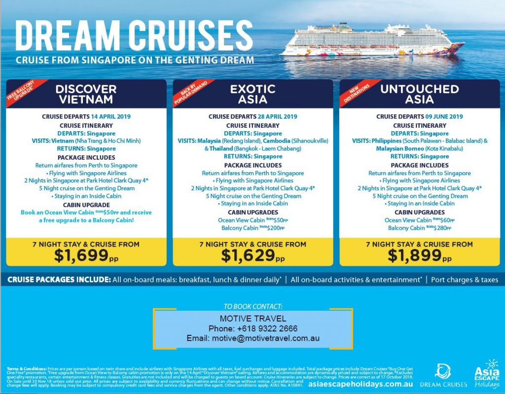 Asia Escape Holidays Dream Cruises fly stay cruise packages