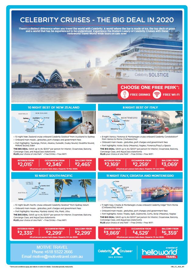 Helloworld Travel Celebrity Cruises 2020 special deals