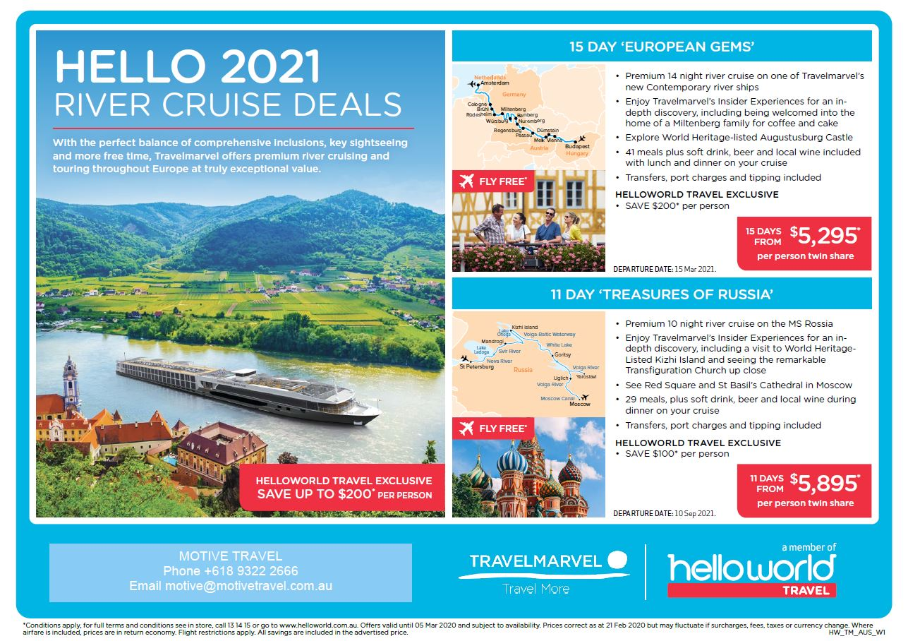 Helloworld Travelmarvel Hello 2021 River Cruise Deals flyer