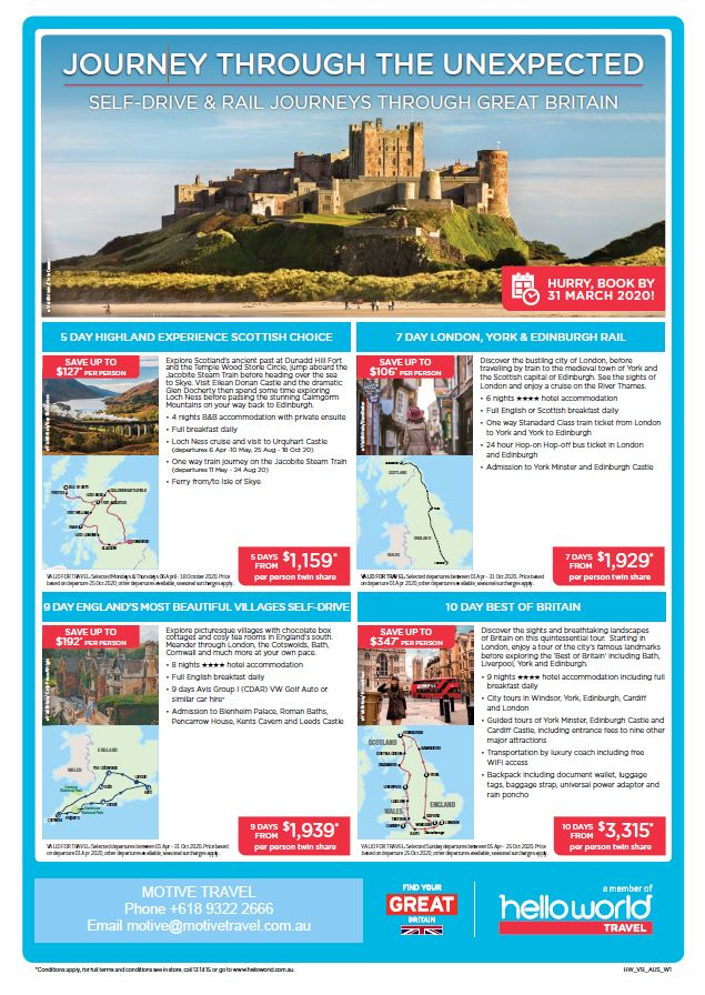 Helloworld Visit Great Britain flyer